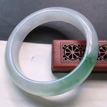 翡翠糯冰种飘花正圈手镯57.1mm