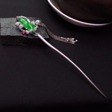 冰种阳绿镶18K白金钻石步摇发簪翡翠