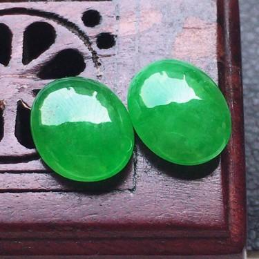 戒面裸石,翡翠糯冰种满绿蛋面镶嵌件