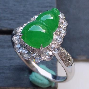 戒指,翡翠18k金伴钻镶嵌糯冰种满绿葫芦戒指17mm