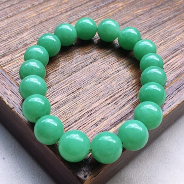 串珠手串,翡翠细糯种满绿圆珠手串