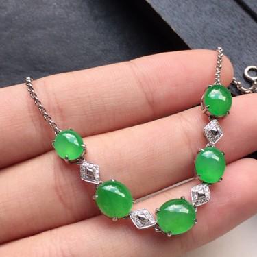 手链,翡翠18K金伴钻镶嵌糯冰种满绿蛋面手链