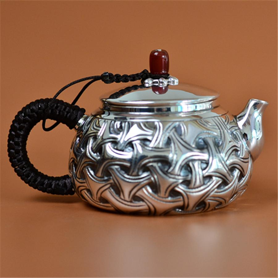"""""""编织纹""""手工银壶泡茶壶"""