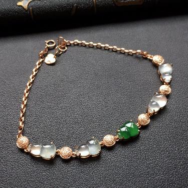 冰种无色/深绿镶玫瑰金钻石葫芦手链