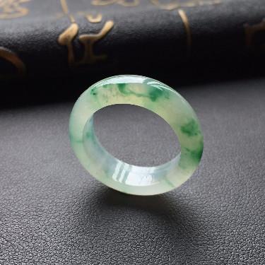 冰种飘绿花指环