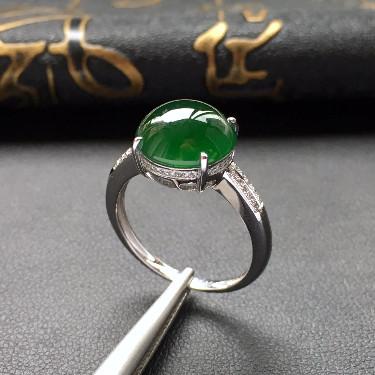 糯冰种深绿镶白金钻石戒指