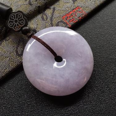 細糯種紫羅蘭平安扣掛件