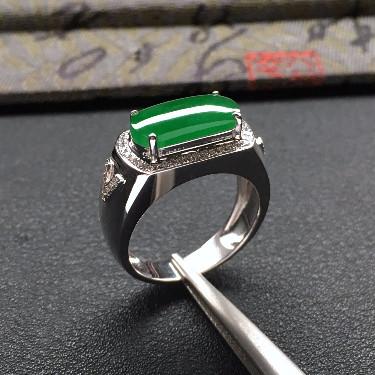 糯冰種深綠鑲白金鉆石馬鞍戒指