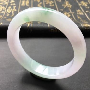 糯冰種飄綠花手鐲(59.2mm)