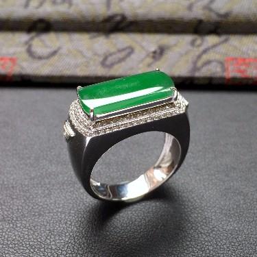 冰种翠绿镶白金钻石马鞍戒指