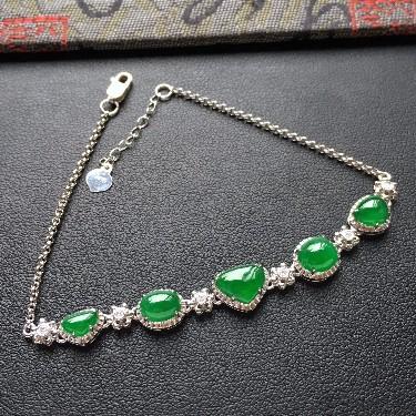 冰种/糯冰种阳绿镶白金钻石手链