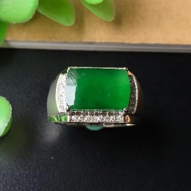 镶白18K金钻石冰种阳绿马鞍戒指