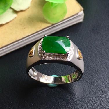 镶白18K金钻石糯冰种浓绿马鞍戒指