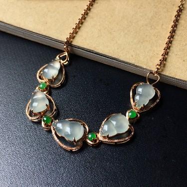 镶18K玫瑰金钻石冰种无色/翠色葫芦手链
