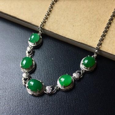 镶白18K金钻石糯冰种晴水色/翠色蛋面手链