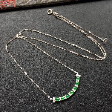冰种深绿镶白金钻石锁骨链