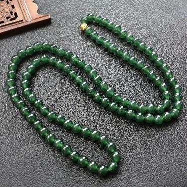 冰种油青绿圆珠项链/108佛珠