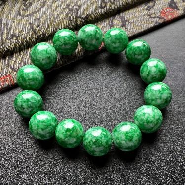 细糯种浓绿圆珠手串