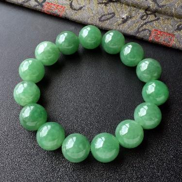 糯冰种青绿色圆珠手串