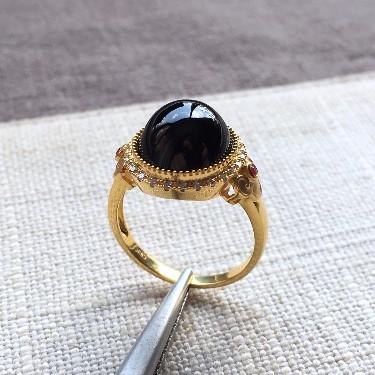 (超值推荐)冰种墨翠镶18k金钻石戒指