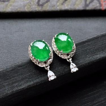 (超值推荐)冰种阳绿镶白金钻石耳钉一对