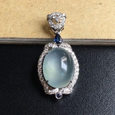 镶白18K金钻石冰种无色蛋面胸坠