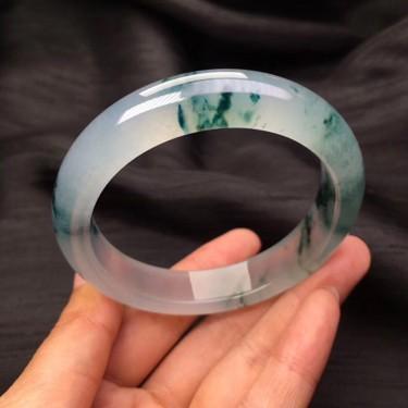 冰种飘花正圈手镯(55mm)