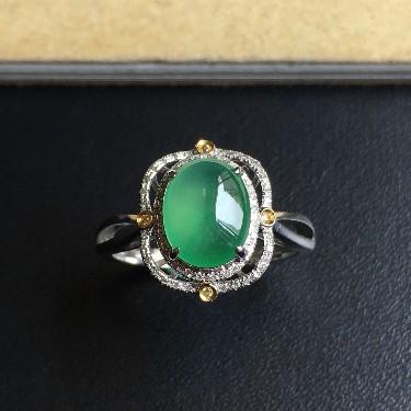 镶黄/白18K金钻石冰种翠绿蛋面戒指