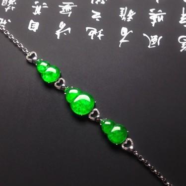 (超值推荐)镶白金钻石冰种阳绿手链