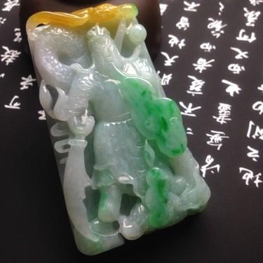(超值推薦)糯冰種黃加綠關公掛件翡翠