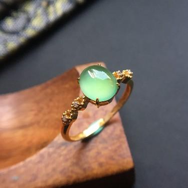 (超值推荐)翡翠冰种晴水镶18k金钻石戒指