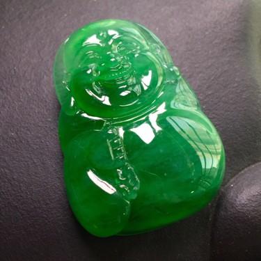 (超值推荐)冰种满绿弥勒佛挂件翡翠