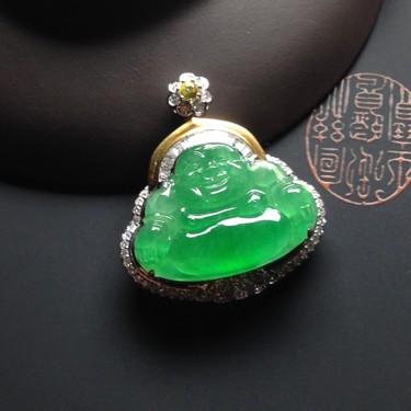 冰种满绿镶彩金钻石玉佛胸坠翡翠