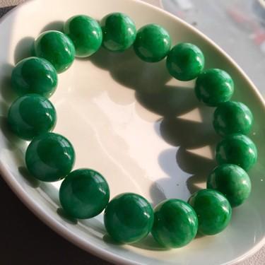 糯冰种满绿圆珠手链翡翠