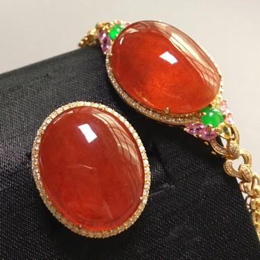 冰种红翡镶黄18k金钻石手链、戒指/胸坠两用款一套翡翠