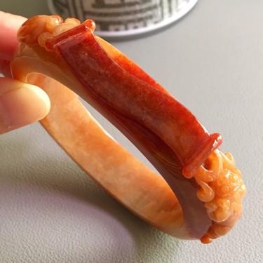 糯冰種紅翡金榜題名手鐲(圈口59.5mm)翡翠