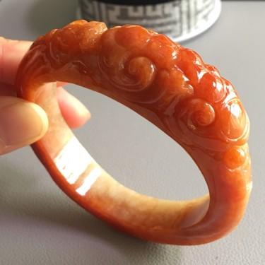 糯冰種紅翡如意手鐲(圈口57.5mm)翡翠