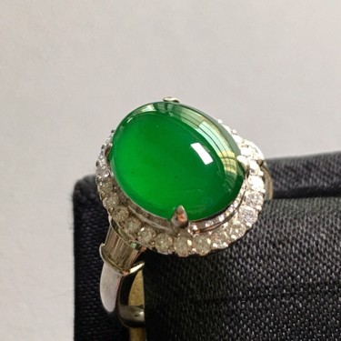 冰種陽綠鑲白金鉆石戒指翡翠
