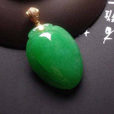 冰种满绿寿桃挂件翡翠