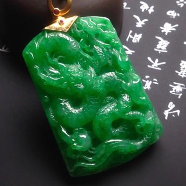 糯冰种阳绿龙牌挂件翡翠