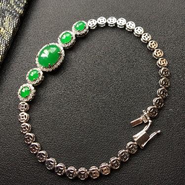 冰种/糯冰种深绿镶白金钻石手链翡翠