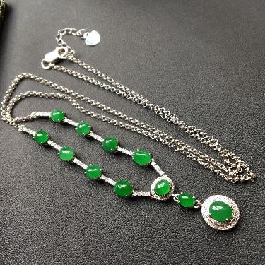 冰种/糯冰种深绿镶白金钻石锁骨链翡翠