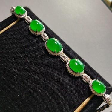 冰种阳绿镶白金钻石手链翡翠