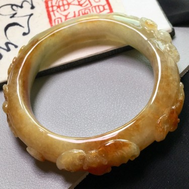 糯冰种黄加绿五福临门手镯(51.4mm)翡翠