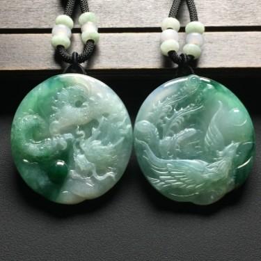糯冰種飄花龍鳳呈祥掛件一對翡翠