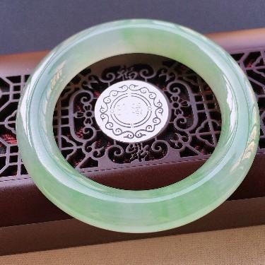 糯冰种晴水圆条手镯54mm