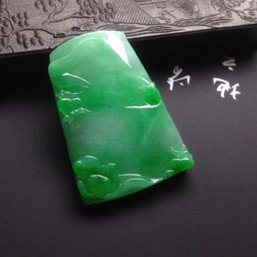 冰種滿綠步步高升掛件翡翠