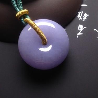 冰種紫羅蘭平安扣掛件翡翠
