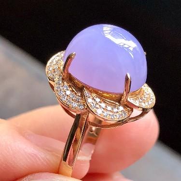 镶玫瑰金钻石糯365娱乐app手机版下载紫罗兰翡翠戒指