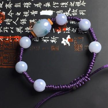细糯种紫罗兰手串翡翠